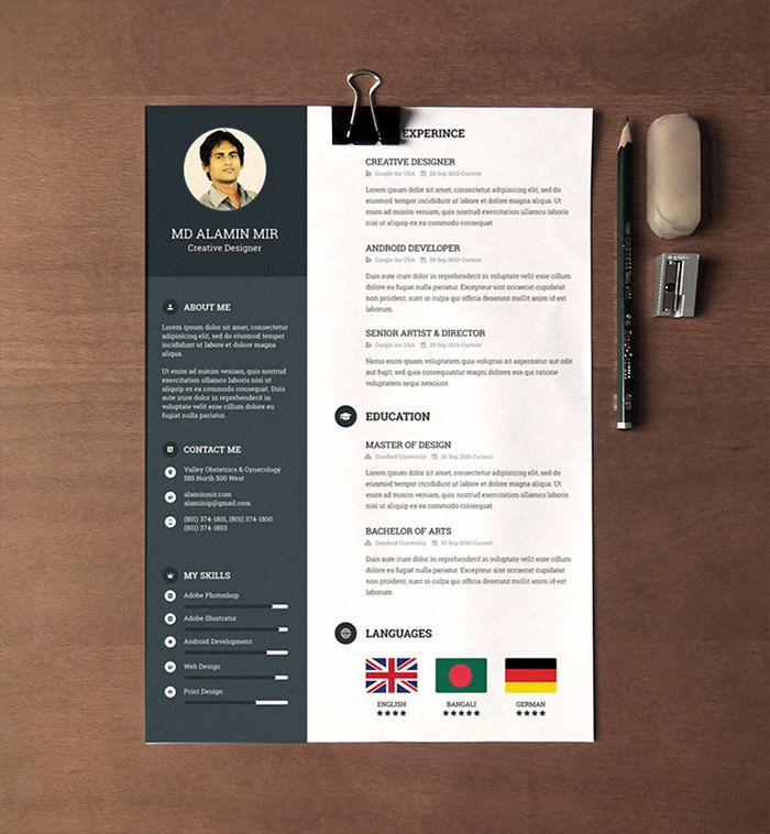 30 Free \ Beautiful Resume Templates To Download sai Pinterest - creative resume templates free download