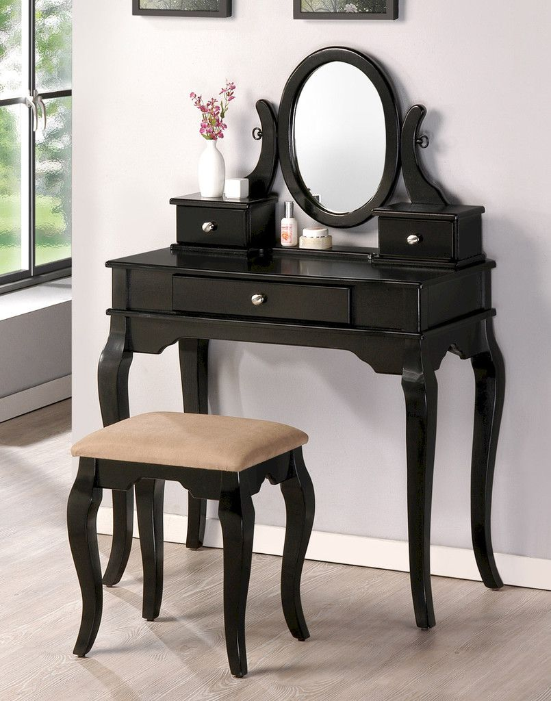 Mirrored Vanity Table And Stool: Bedroom Makeup Vanity Table Set With Vanity Stool, Mirror