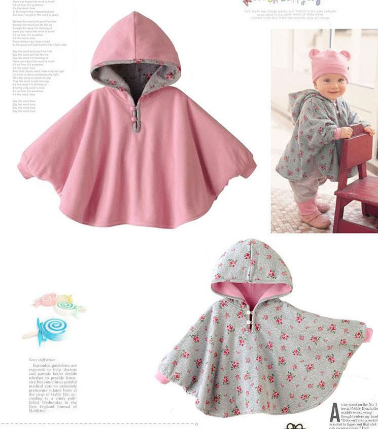 Floral Print Newborn Baby Toddlers Hood Cape Warm Winter Coat Cloak ...