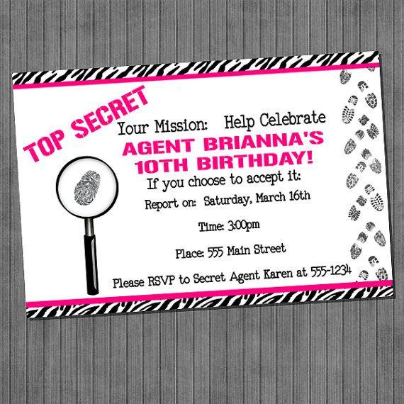 Top Secret Spy Party Invitations Girl pink black white zebra – Top Secret Party Invitations