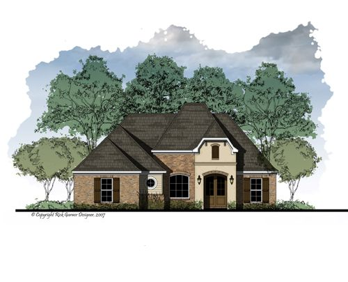3 Bedrooms, 2 Bath  Formal Entry Foyer and Dining Room  Raised Ceiling in Master   Open Living Area with Fireplace  Kitchen with Eating Bar   Optional Computer Area in Kitchen   Large Walk-in Closet in Master  Covered Front Entry   Covered Rear Porch   Ample Storage Room  Sophisticated French Tuscany Exterior   NARROW LOT DESIGN    Total Living Area: 1760 sq. ft.  #houseplans #homeplans #housedesigner #builderplans #homeplans