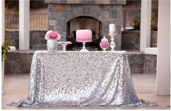 Silver Sequin Wedding Tablecloth 50 By 72 In Rectangular Polyester