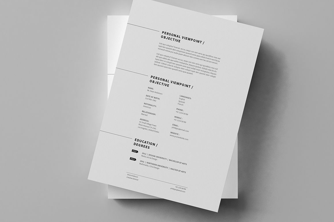 Minimal Resume / CV / Curriculum Vitae / 12 Pages on Behance | S ...