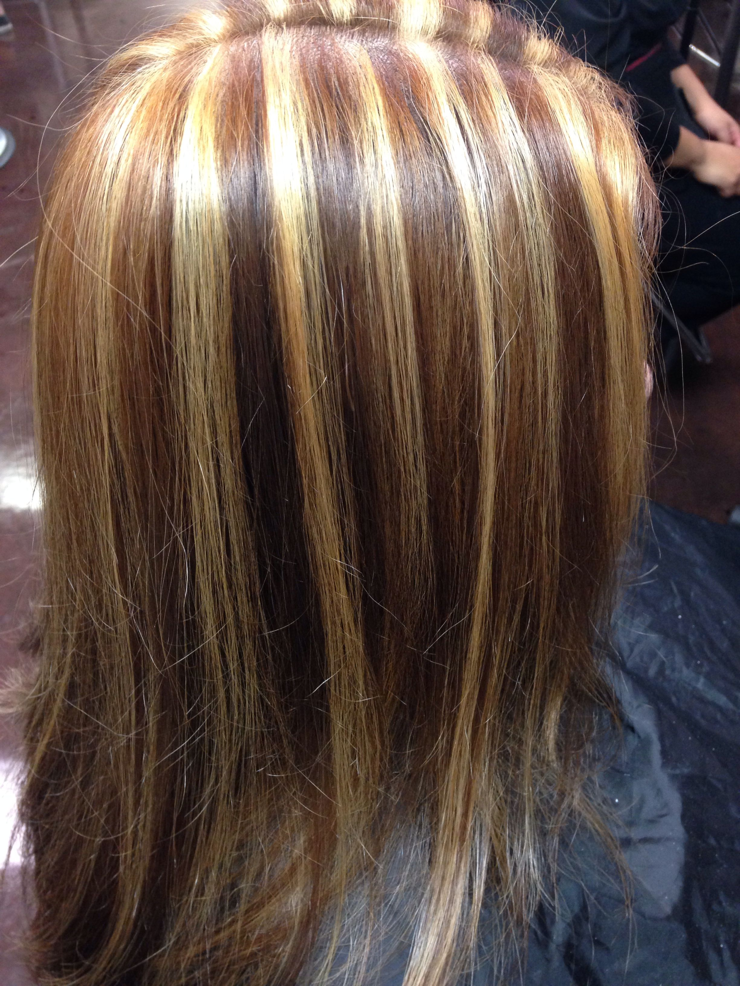 Chunky Highlights Golden Blonde Hair Colored Curly