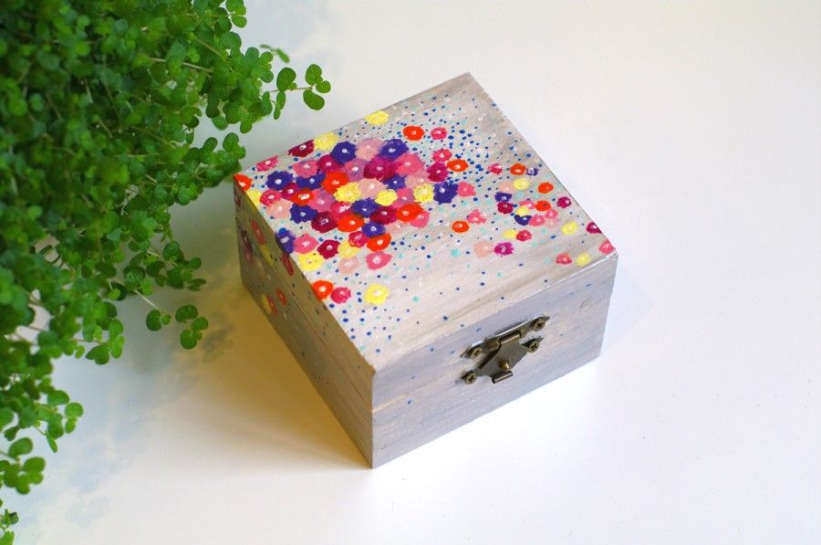 Small Jewelry Box Wooden Box For Rings Painted Wooden Jewelry