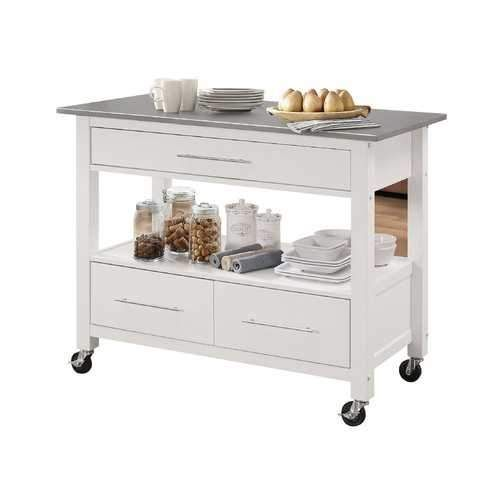 Kitchen Island In Stainless Steel And White - Stainless Steel