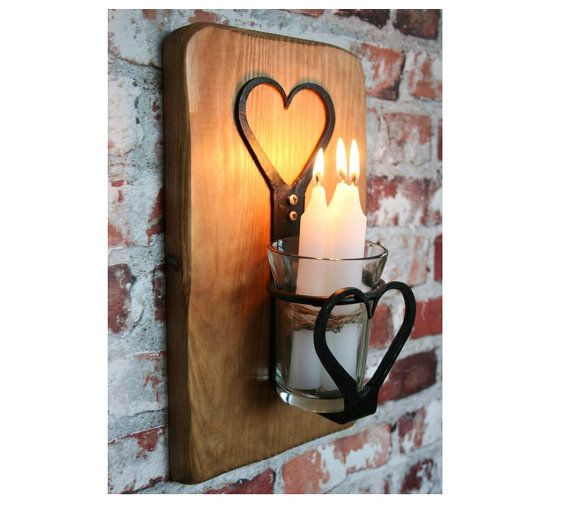 SCONCE CANDLE LANTERN  Wrought Iron Heart Design by WoodwormShop - available at www.meraldictapestries.com