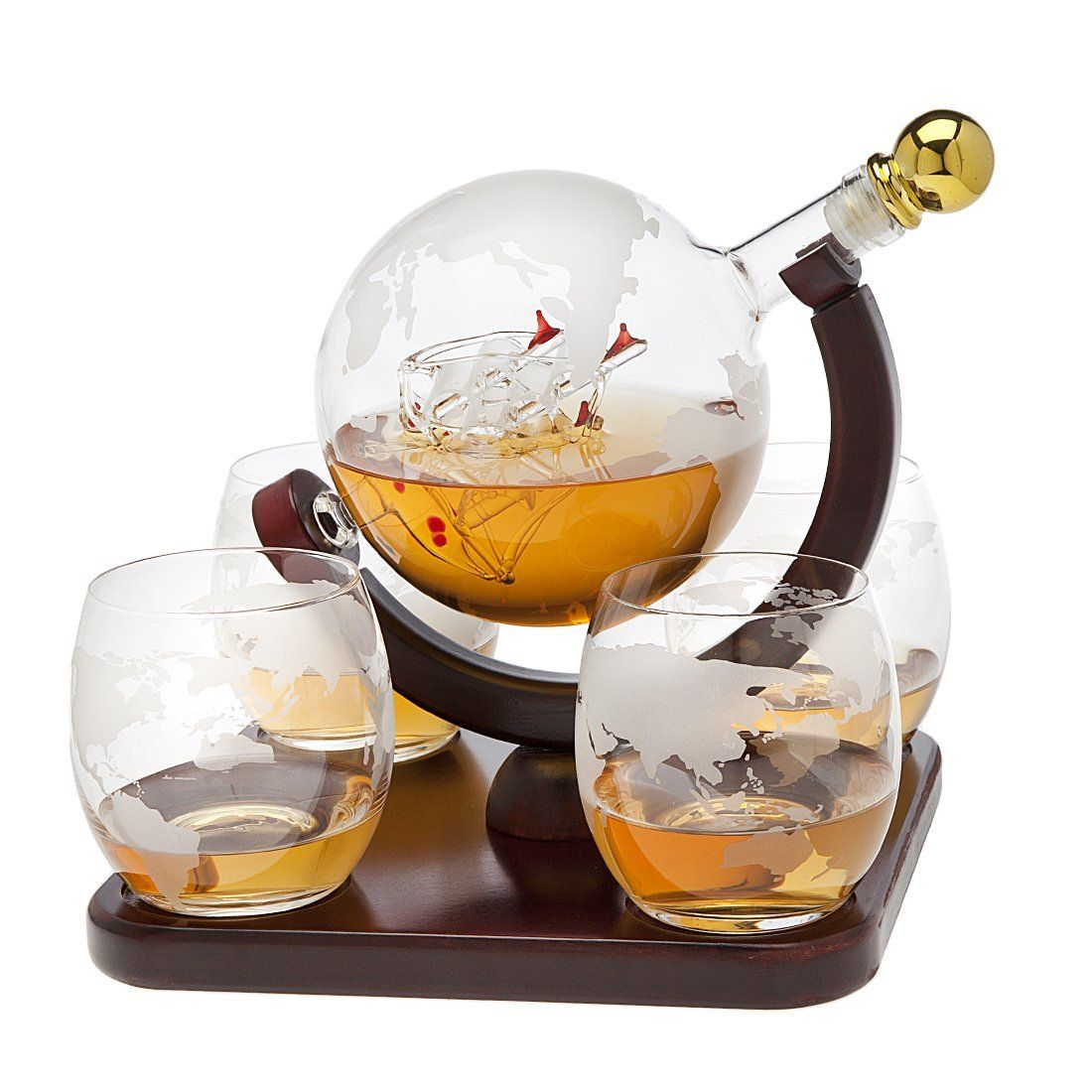 Verre De Whisky Amazon Whiskey Decanter Globe Set With 4 Etched Globe Whisky