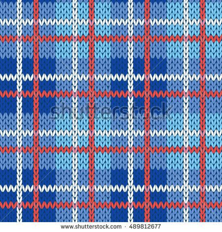 Knitting seamless vector pattern with perpendicular lines as a woollen Celtic tartan plaid or a knitted fabric texture in blue, white and red colors