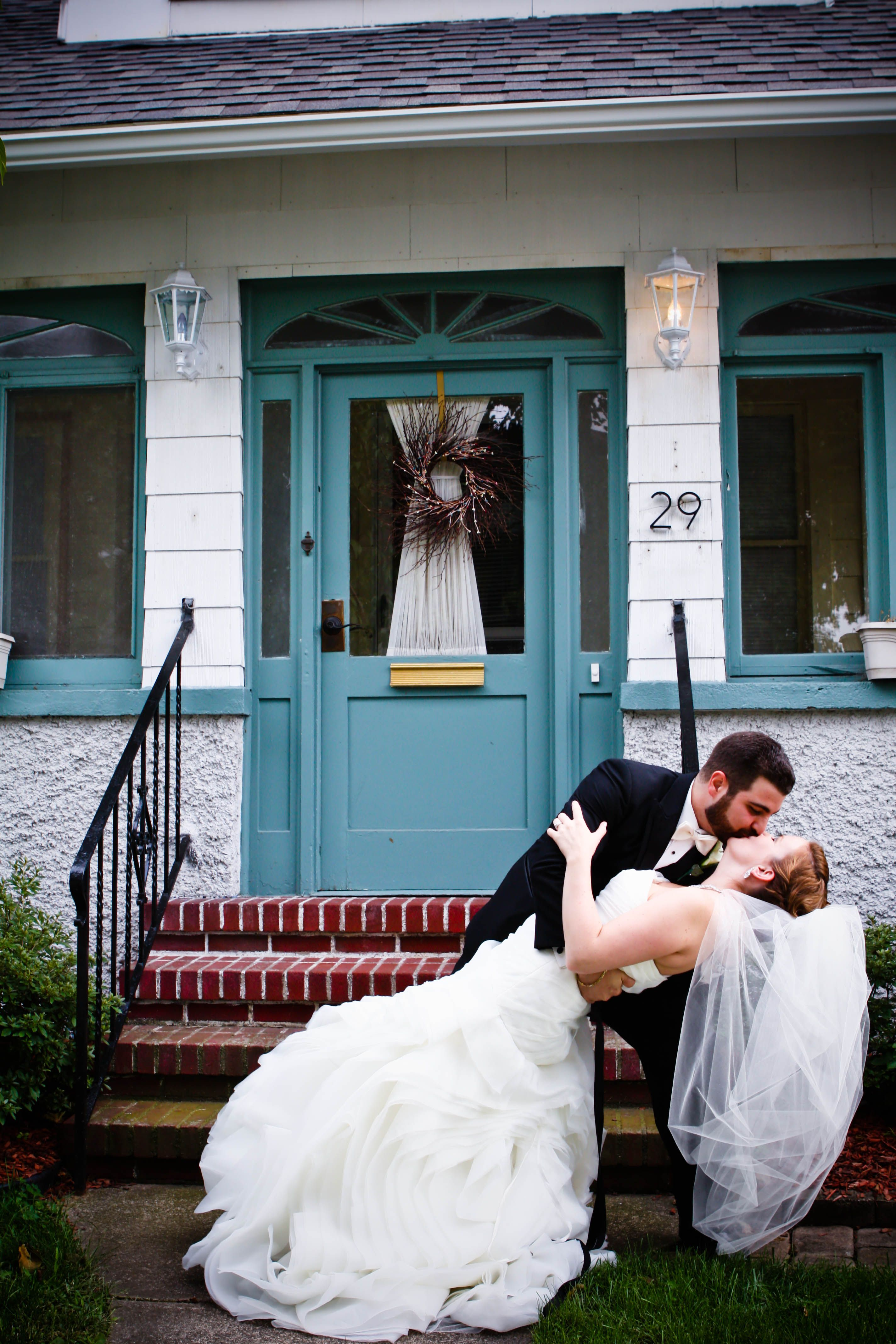 My husband and I at our first home on our wedding day. <3 The best ...