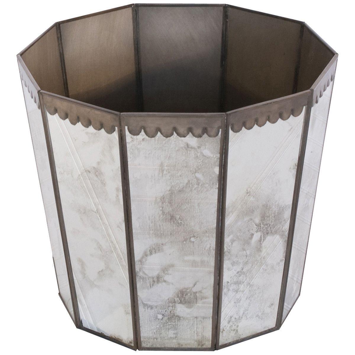 Worlds Away Antique Mirror Hexagonal Wastebasket
