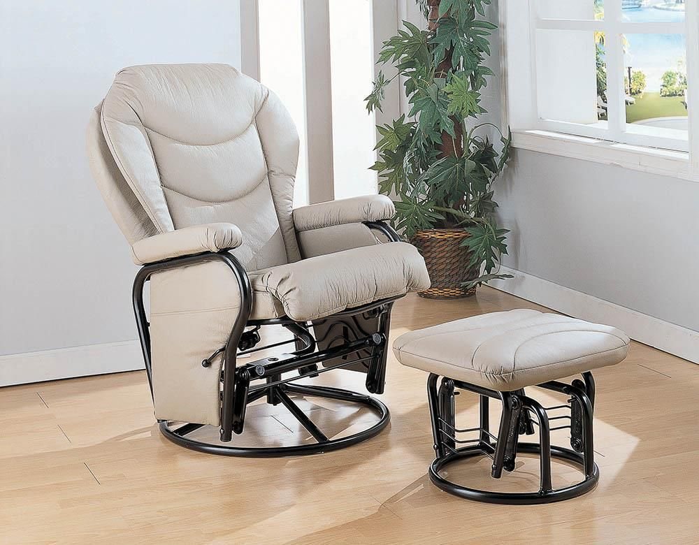 Living Room Gliders Beige Upholstered Glider Recliner With Ottoman Beige And Black In 2021 Swivel Glider Recliner Glider Rocking Chair Glider And Ottoman Rocker glider recliner with ottoman
