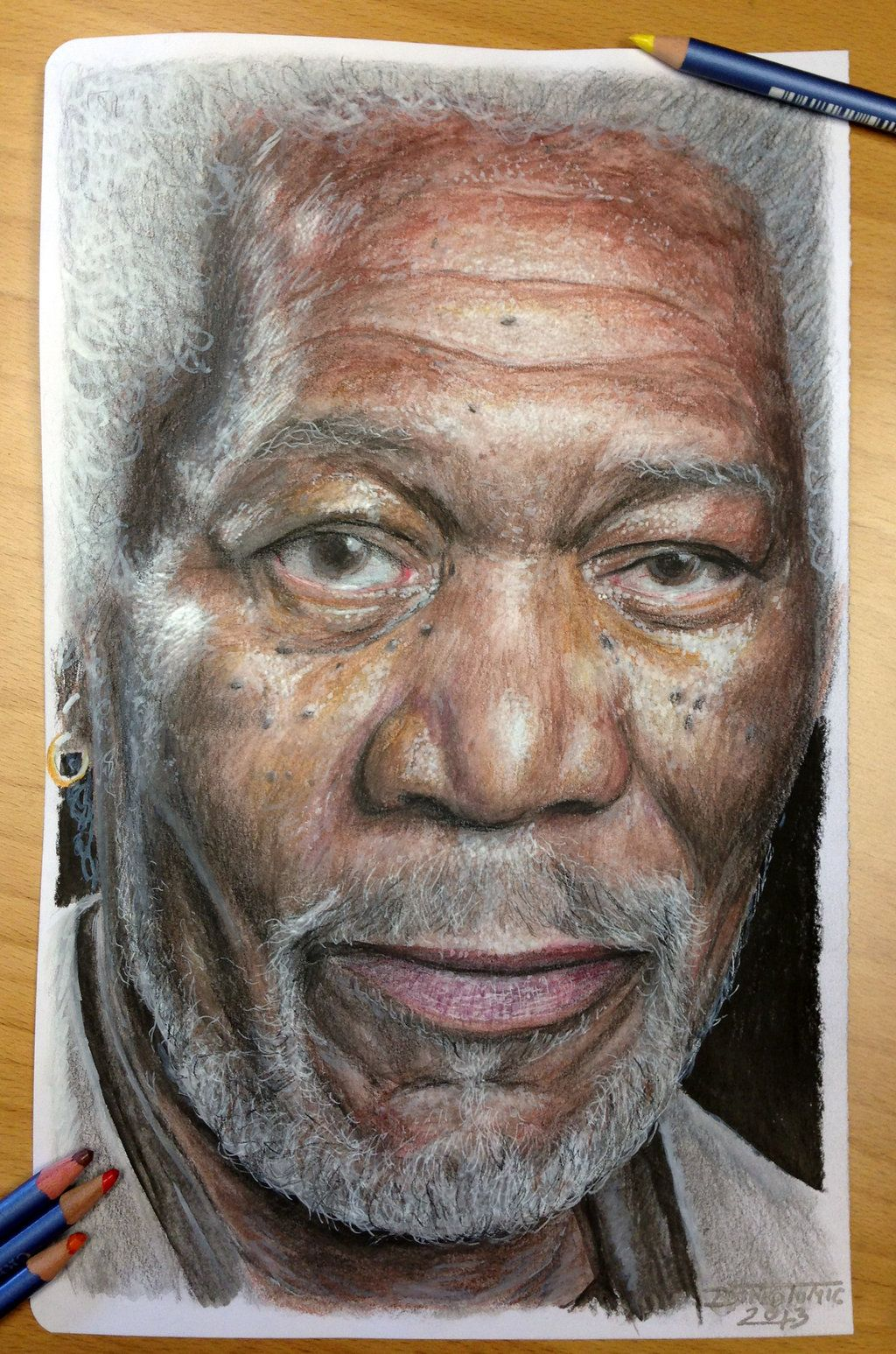 How to draw with colored pencils - Morgan Freeman Color Pencil Drawing By Atomiccircus On Deviantart