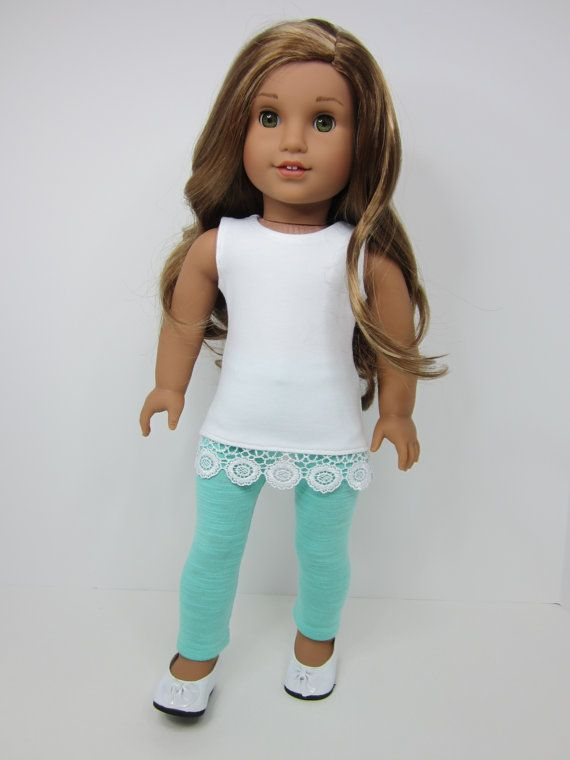 American Girl doll clothes    -Sleeveless white  tunic too with lace trim and Aqua leggings by JazzyDollDuds