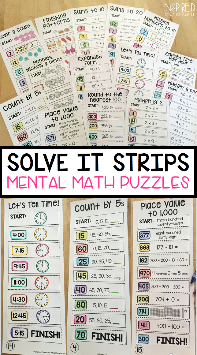 Solve It Strips BUNDLE! Hands-On Math Puzzles (Primary Edition ...