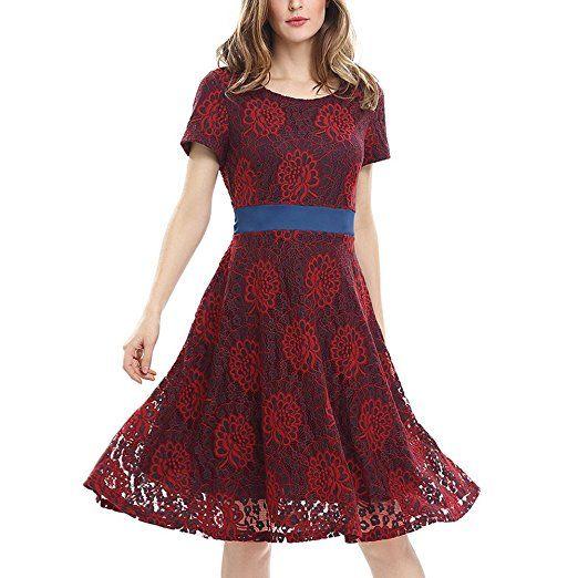 iShine Damen Abendkleider Spitzenkleid Cocktailkleider Spitze Kleid ...