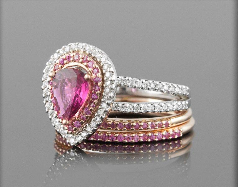 Heart Shape Unique Design Pink Sapphire Diamond Wedding Ring Sets
