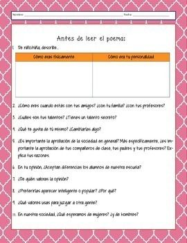 A Julia de Burgos Questions and Extension Activity Poesia ...