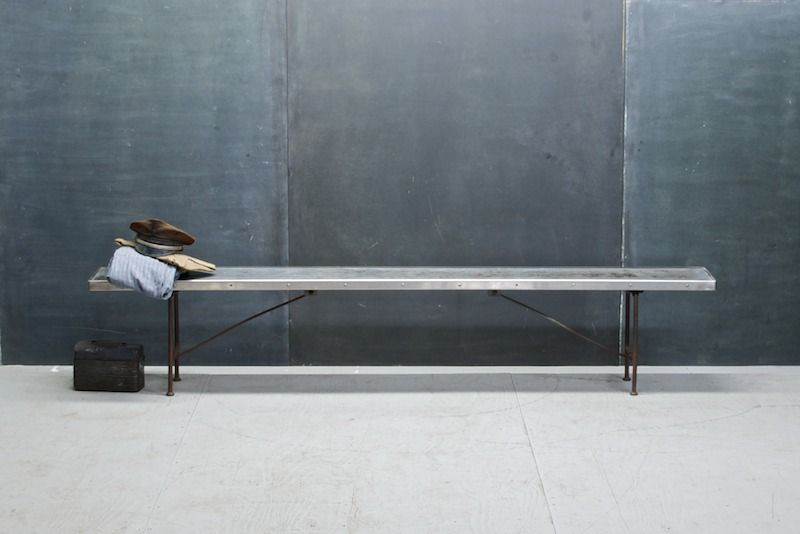 Tome Boys School Folding Steel Bench : 20th Century Vintage Industrial : Modern Fifty