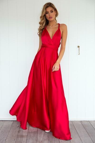 37e22dbdcb Perfect Date Satin Maxi Dress (Red) | образы | Dresses, Vintage red ...