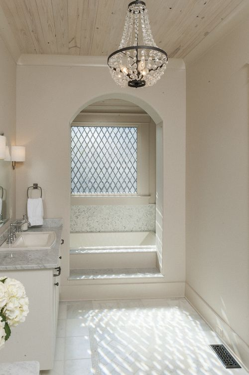 Christopher AI alcove bath with a great chandelier Bathrooms