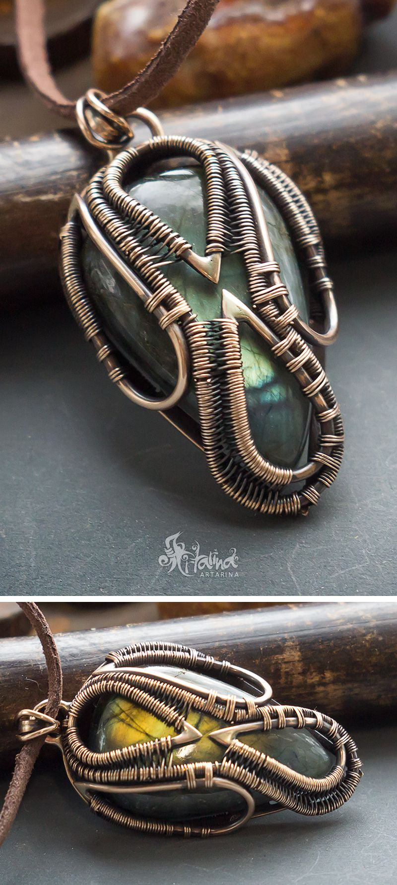 Heady wire wrapped pendant // Bronze wire wrap necklace with huge ...