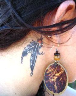 Feather Tattoo Behind Ear Google Search Neck Tattoo Feather Tattoo Behind Ear Feather Tattoos