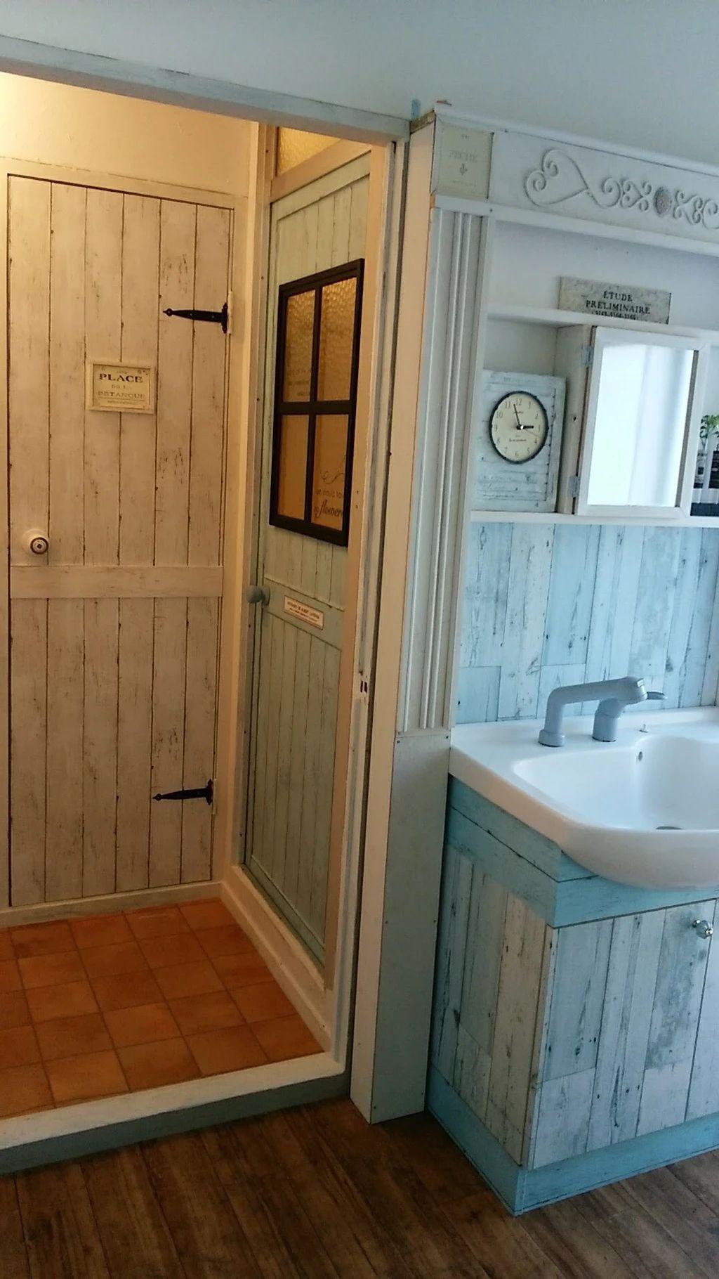 アラフィフdiy女子 の週末実家リノベ 洗面所 トイレ お風呂のドア編 洗面所 ドア ドアリフォーム