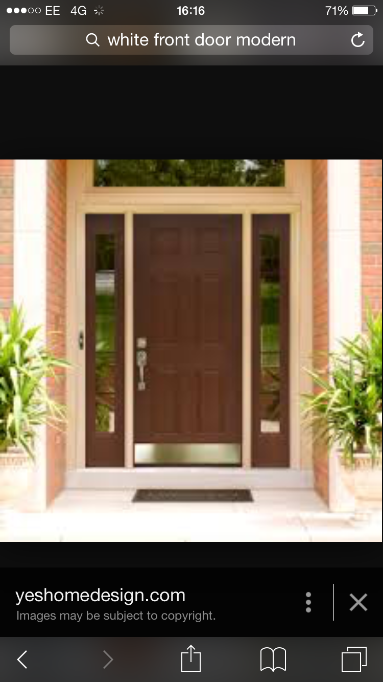 Exciting Modern Front Door Ideas In Dark Brown Color With Door Lever  Applying Silver Color Combined Wih Glass Screens On Side Door And Completed  With Black ...