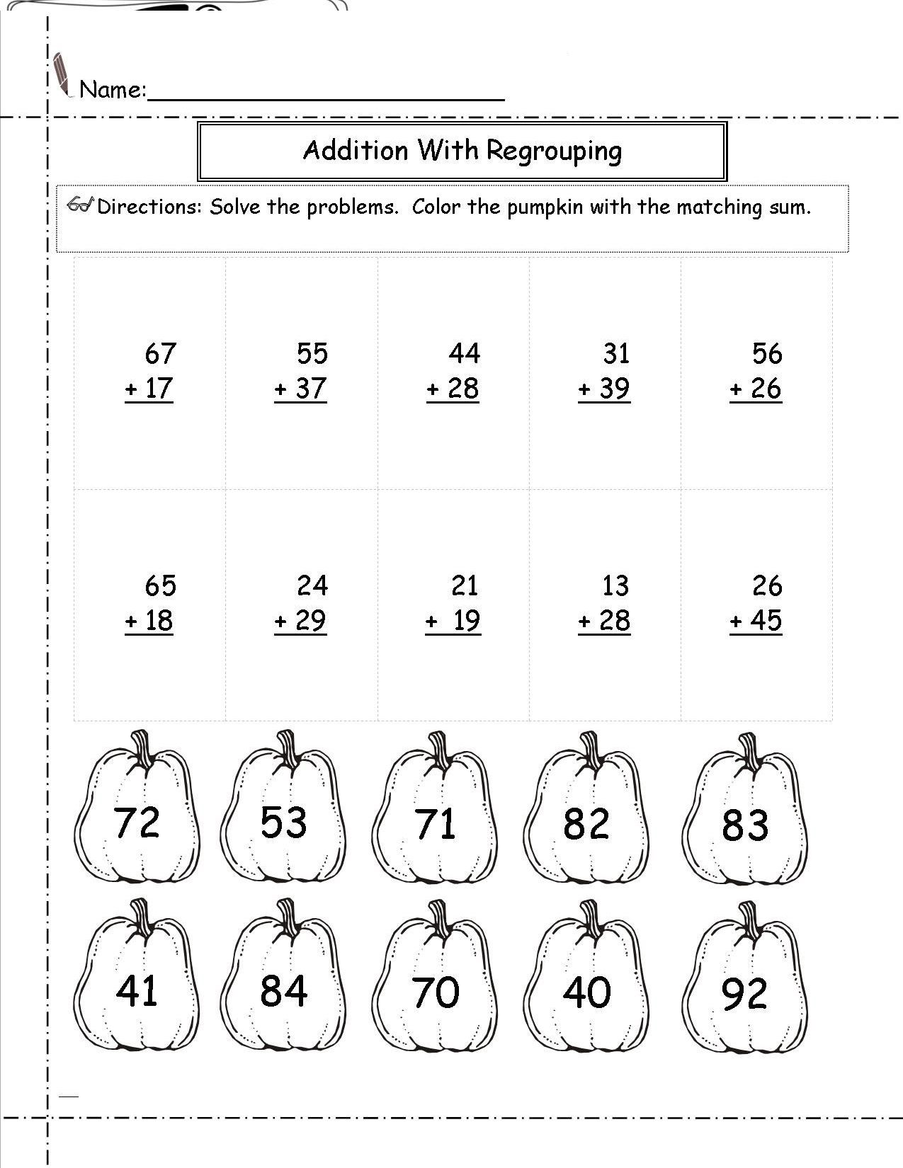 2 Digit Subtraction Without Regrouping Coloring Worksheets