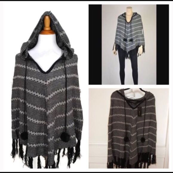 BCBG Maxazria black gray hooded poncho- S/M & L/XL Brand new with $145 tags! Sizes available: S/M & L/XL. This black gray and gold shimmer poncho is super stylish and perfect for this winter. Pair it with your favorite cozy leggings for a comfortable and chic look that keeps you warm this winter! I love the hooded feature as well! Wear it two completely different ways whether you keep the hood up or down! BCBG Maxazria black gray hooded poncho- S/M & L/XL. BCBGMaxAzria Sweaters Shrugs…