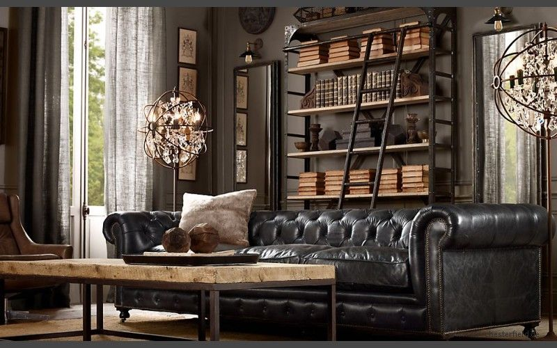 Kensington Chesterfield Ledersofa 2 5 Sitzer Schwarz Sofa Nero Ebony Sir Chesterfi Restoration Hardware Living Room Brown Living Room Vintage Living Room