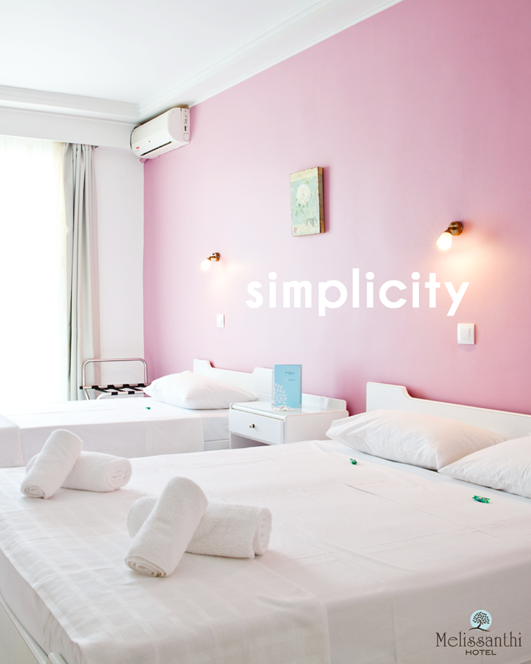 """Simplicity, we believe, is the key to beauty. """"Less is more"""" is the main moto that best describes our rooms, which let you relax by not being overloaded with things and schemes and colors #melissanthi #smallhotel #greekhotel #kalokairi2017 #hotelbreakfast #πρωινό #summerinGreece #Halkidiki #holidaysinGreece #θάλασσα #παραλία #Χαλκιδική #διακοπές #vară #concediu #Grecia #Lato #Wakacje #Grecja #Morze #nyár #ünnepek #Görögország #tenger #лято #ваканция #Гърция #лето2k17 #каникулы"""