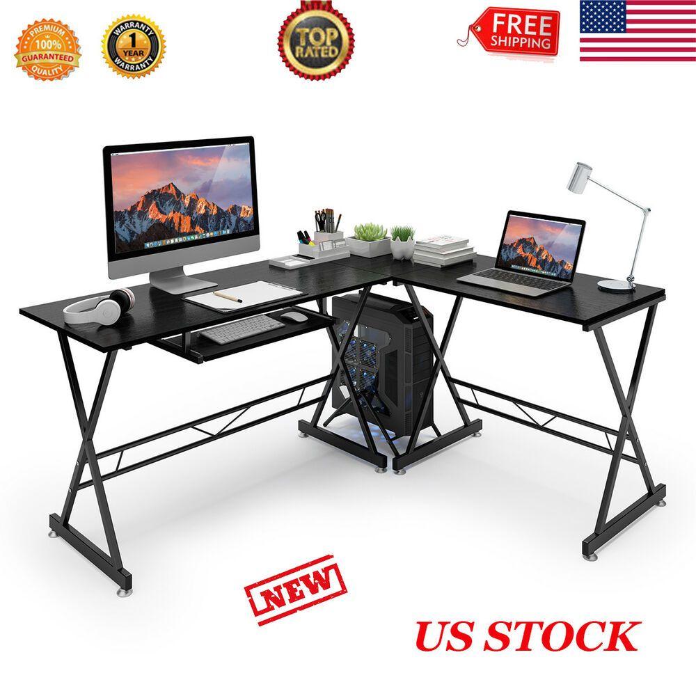 New L Shaped Desk Office Computer Glass Corner Desk Workstationkeyboard Tray Us Affilink Desk Desksetup Corner Computer Desk Pc Desk Glass Corner Desk