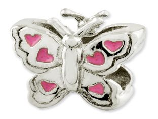 Kids Personalized Sterling Silver Butterfly With Hearts Charm Bead (Online at Gemologica.com)