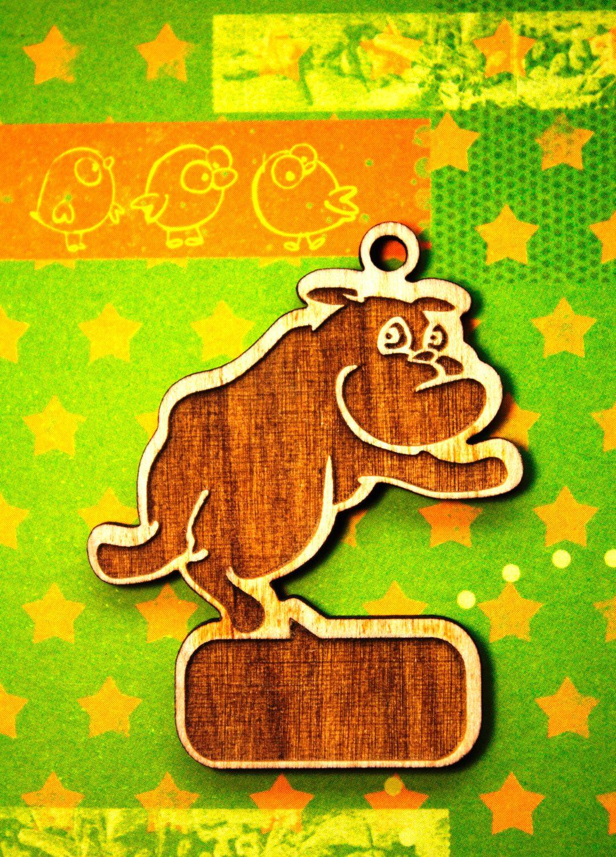 Wooden  keychain wooden keychain dog wood Schlüsselanhänger Hund pet accessories bulldog pet keychain bulldog dog
