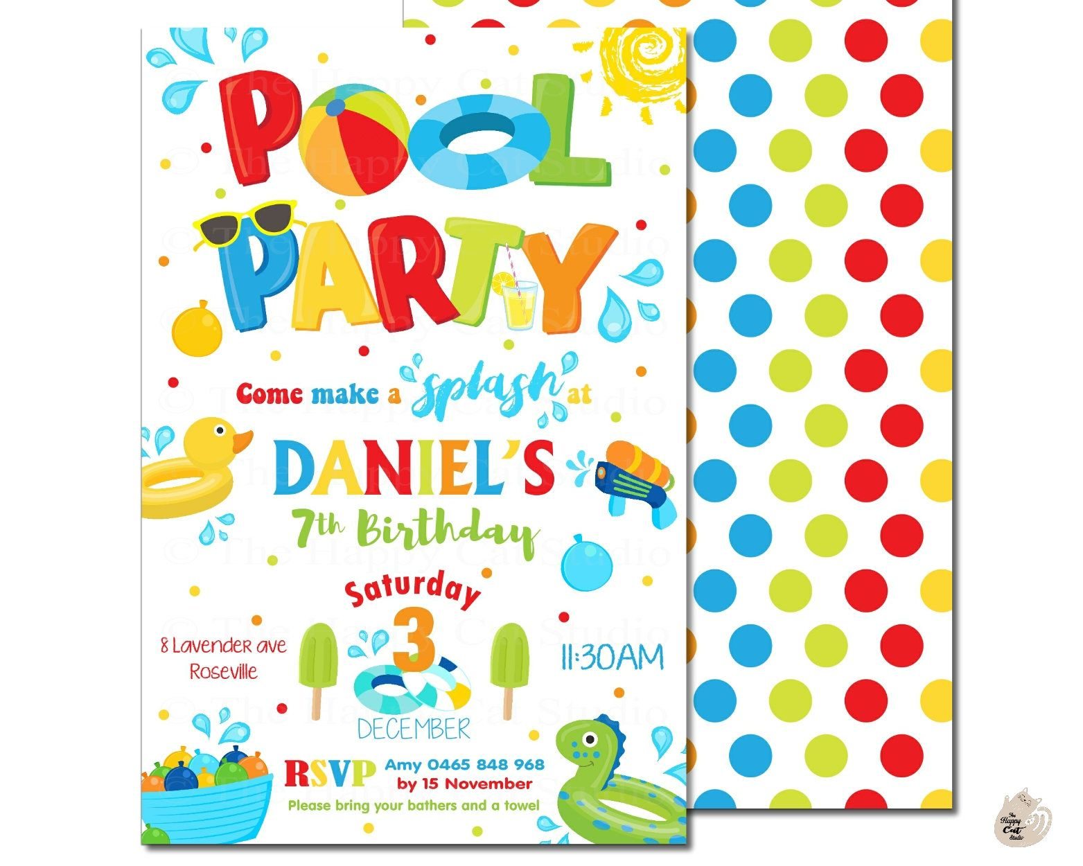 Pool Party Invitation, Thank You, Swim, Boys, Fun & Bright, Invite ...