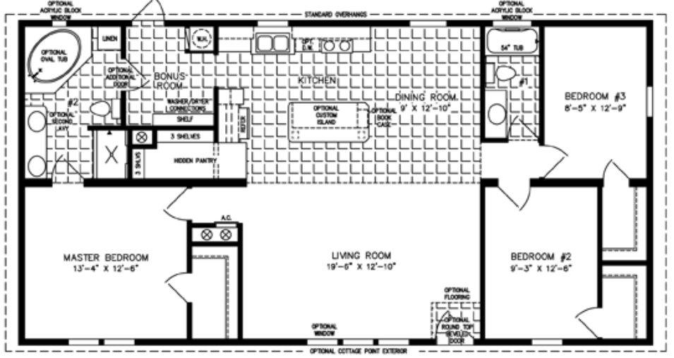 3-Bedroom Mobile Home Floor Plan