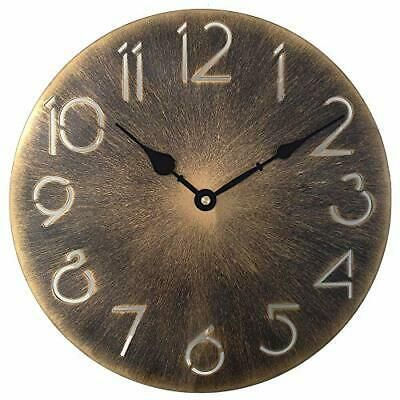Retro Metal Industrial Wall Clock 12 Inch Round Classic 12 Inch Antique Gold Fashion Home Garden Homedcor Clocks Ebay Li In 2020 Gold Wall Clock Wall Clock Clock