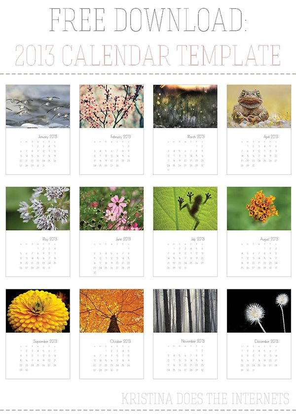 Free Download 2013 InDesign Calendar Template InDesign (Adobe - Indesign Calendar Template