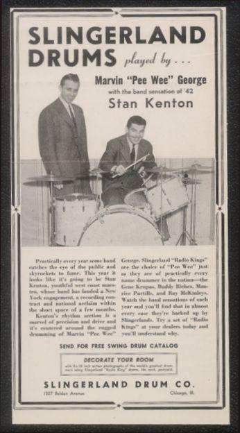 1942 Stan Kenton Photo Slingerland Drum Set Print Ad ...
