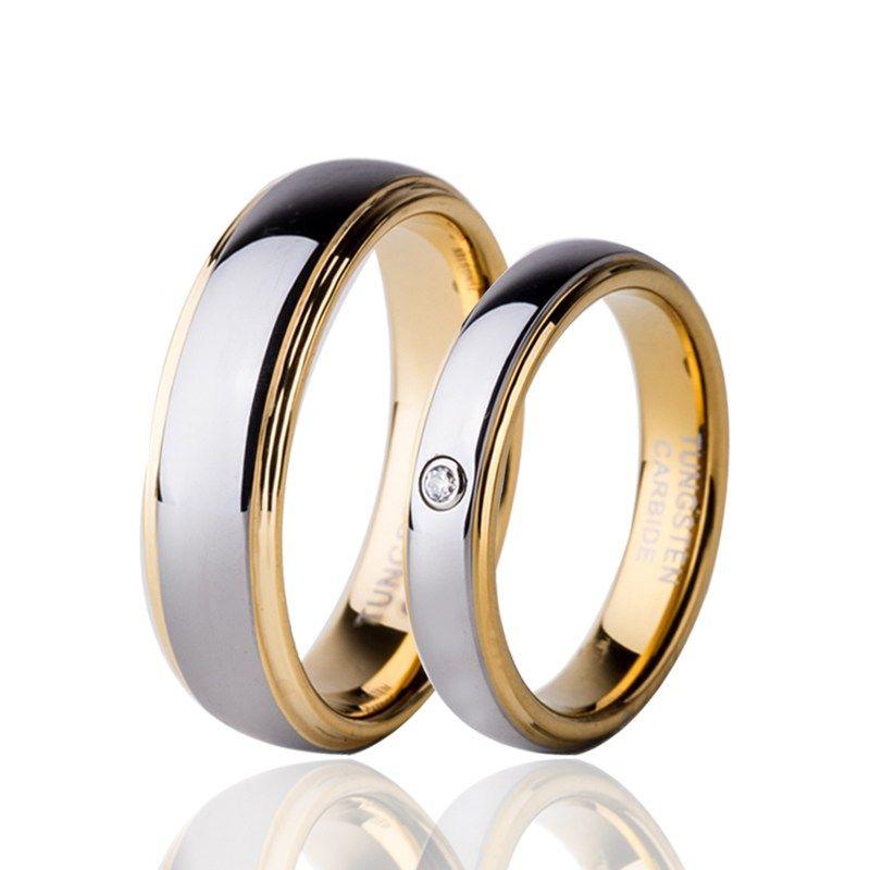Comprar Conjunto de anillo de pareja de tungsteno de circonio cúbico de Color dorado para la Alianza de joyas de amante Anillos 4mm para mujeres 6mm para los hombres
