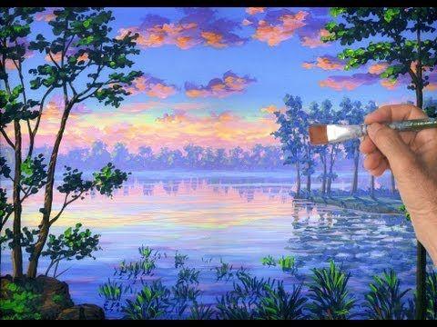 Como pintar un lago agua arboles con acrilicos sobre
