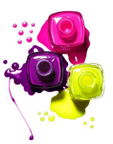 Hot neon nail polish