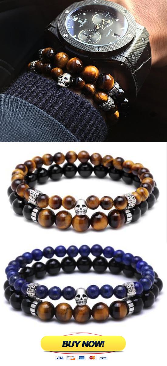 9353b33c1795 Mens beaded bracelet Set ( 2 Bracelet ) Skull Bracelet