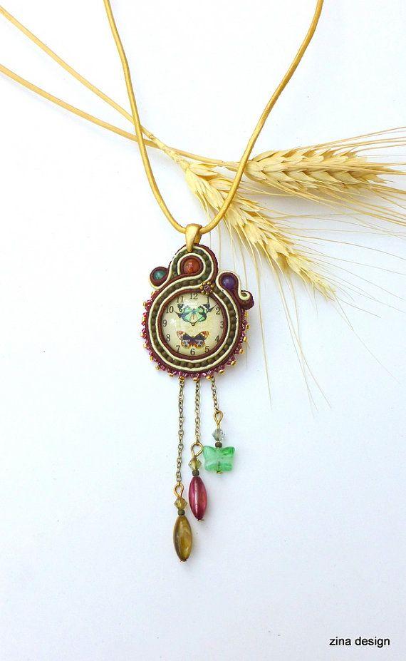 Soutache Necklace Soutache Pendant Pendant by ZinaDesignJewelry
