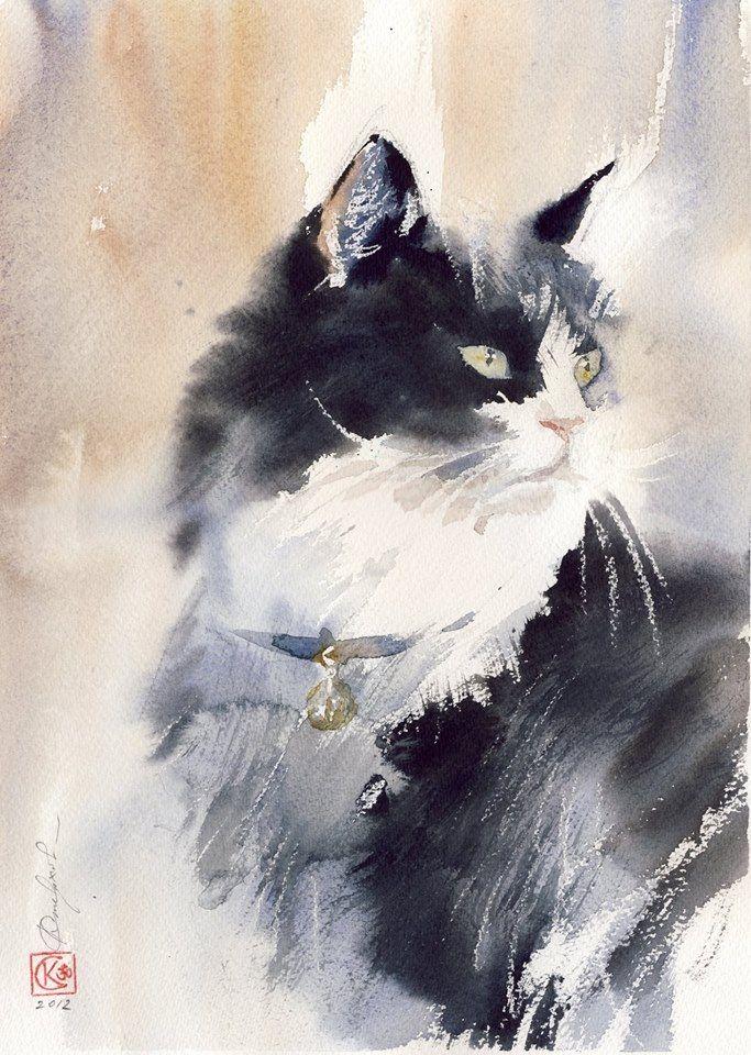 Konstantin Sterkhov Aquarell Katzen kunst