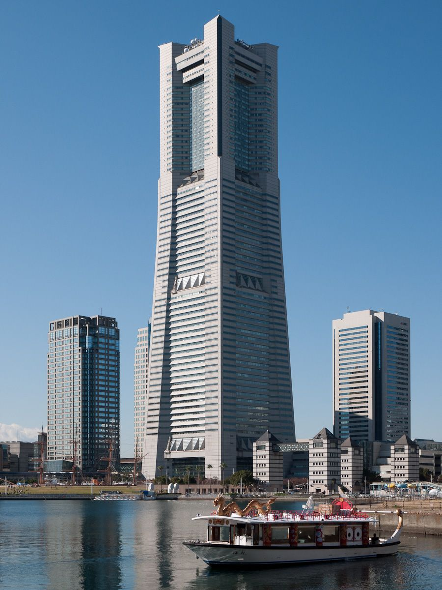 The Yokohama Landmark Tower is the tallest building and 3rd tallest structure in Japan, standing 296.3 m (972 ft) high. It is located in the Minato Mirai 21 district of Yokohama city, right next to Yokohama Museum of Art. Work on the building was finished in 1993. It has the highest observation deck in Japan