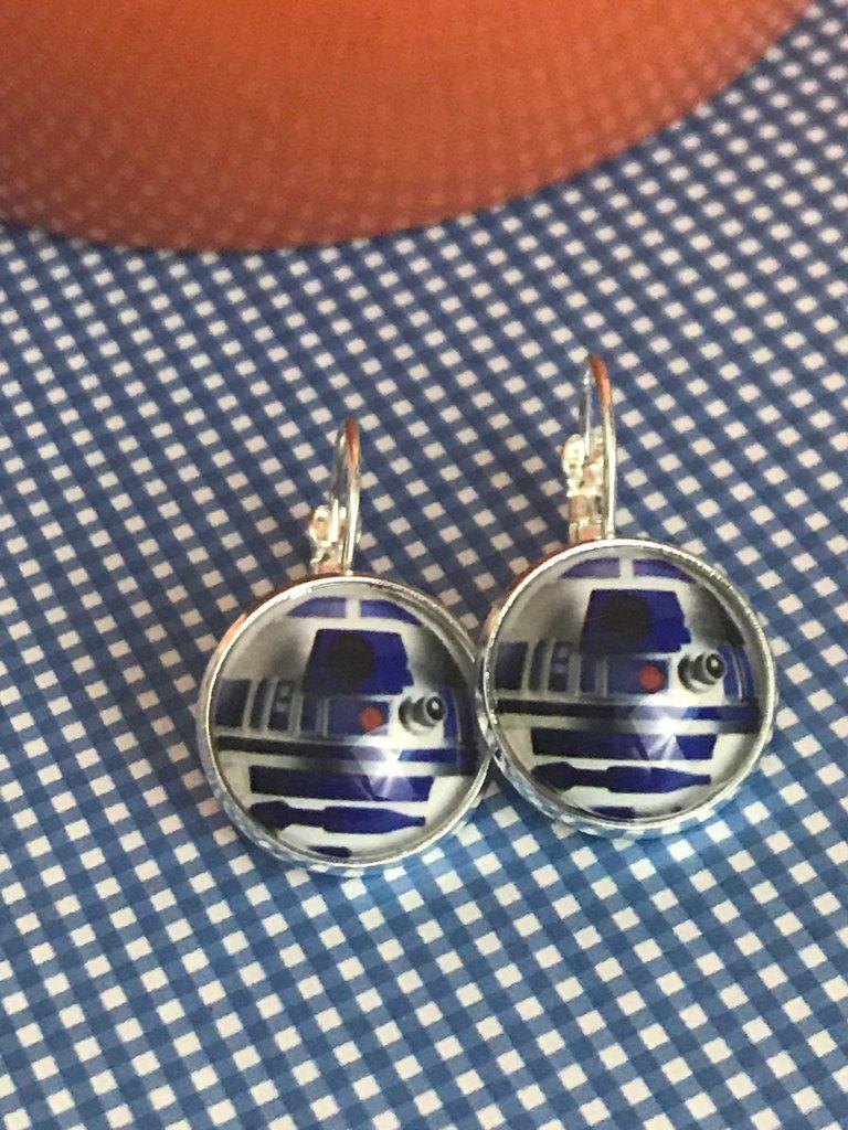 R2D2 Star Wars glass cabochon earrings - 16mm | Star Wars