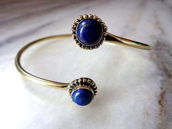 Armlet, Arm cuff, Upper arm cuff, Brass Armlet,  Armlet Bracelet, wire Armlet, Tribal Armlet, Gypsy Armlet, Lapis Lazuli stone,Armband,